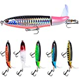 6 PCS Fishing Lure Set Bass with Topwater Floating Rotating Tail Artificial Hard Bait Fishing Lures with Box\/Swimbaits Slow Sinking Hard Lure Fishing Tackle Kits Lifelike (6 pcs TLJ)