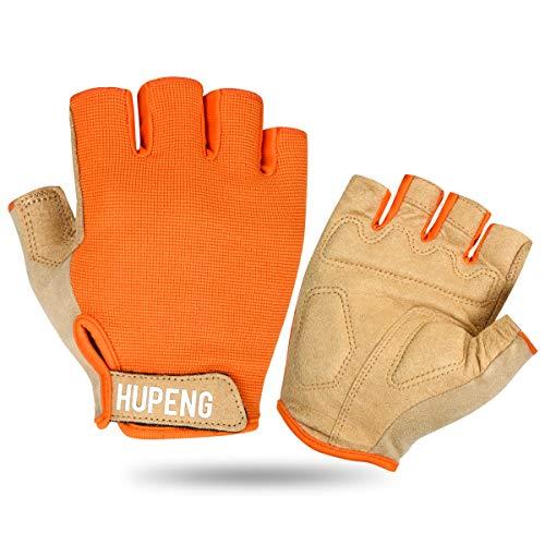 HUPENG Mountain Bike Gloves, Anti-Slip Shock Absorbing Padded Fingerless Cycling Gloves for Men/Women (Orange, Medium)
