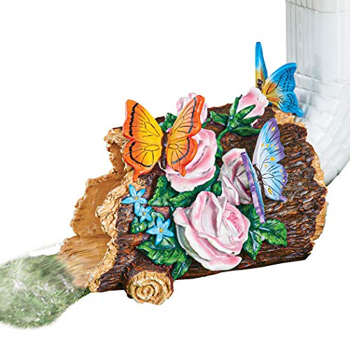 Collections Etc Butterflies and Flowers on a Log Decorative Downspout - Hand-Painted Details - Resin