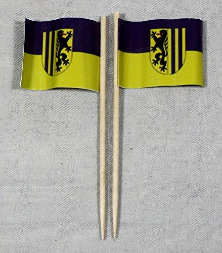 Buddel-Bini Party-Picker Flagge Leipzig Papierfähnchen in Profiqualität 50 Stück 8 cm Offsetdruck Riesenauswahl aus eigener Herstellung