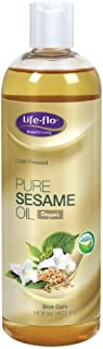Life-Flo Pure Sesame Oil | Organic, Cold Pressed, Food Grade & No Hexane | For Skin, Face, Body & Massage Therapy | 16 fl....