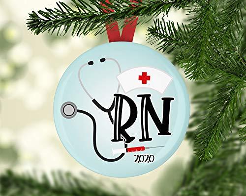 Lplpol Ornamento de enfermera, adorno de Navidad, adorno lindo   adorno 2020   adorno de vacaciones   calcetín de Navidad   Papá Noel secreto   regalos RN   cacs276