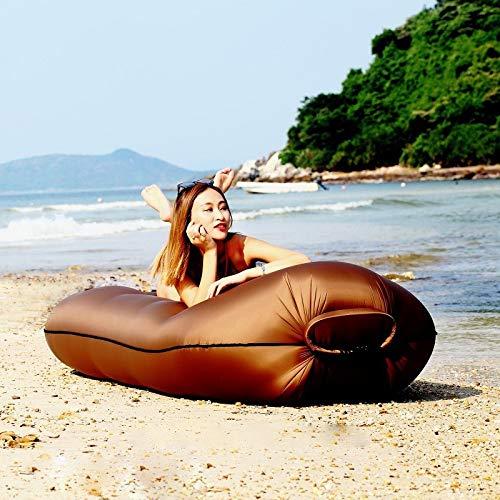 anruo Outdoor aufblasbare Gartenmöbel Terrasse Nylon Luft Schlafsofa Strand Liege Falten Wasserkissen Luftkissen Sofa