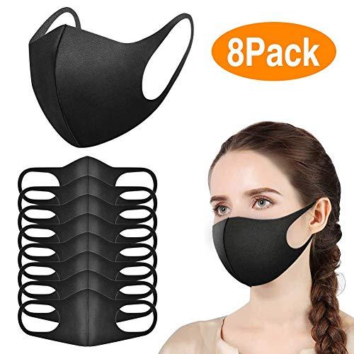 Hospaop Mundschutz Maske - 8 Stück, Schwarze Maske Staubschutzmasken, StaubGesichtsmaske Baumwolle Masken, Fashion Unisex Face Masks, Wiederverwendbare und Waschbare Maske zum, Outdoor Aktivitäten