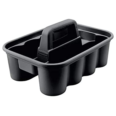 Rubbermaid Deluxe Carry Caddy for Cleaning Products, Spray Bottles, Sports/Water Bottles, and Postmates/Uber Eats Drivers, Black (FG315488BLA)