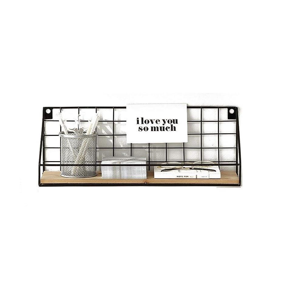 クラウン撤回するヘッジウォールシェルフ メタルワイヤーウッドボードウォールシェルフブラックモダンロフト寮収納棚ディスプレイラック(45×13×16センチ)