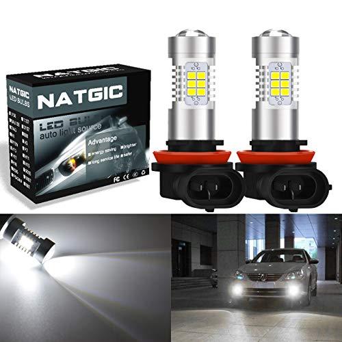 NATGIC H11 H8 H9 Ampoules antibrouillard à LED Blanc xénon 21 - chipsets EX 2835 SMD avec lentille de projecteur pour Feux de Brouillard, Feux diurnes, 10-16V 10,5W (Pack de 2)