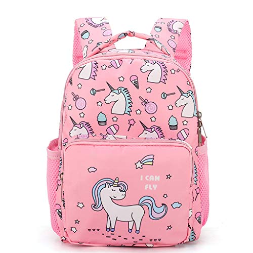 Girls School Bag Princess Unicorn Backpack,Toddler Baby Rucksack Kids Daypack Dancing Bag with Bow Satchel Nursery Shoulder Bags Changing Bag, Best Gift for 1-6 Years Old-Pink