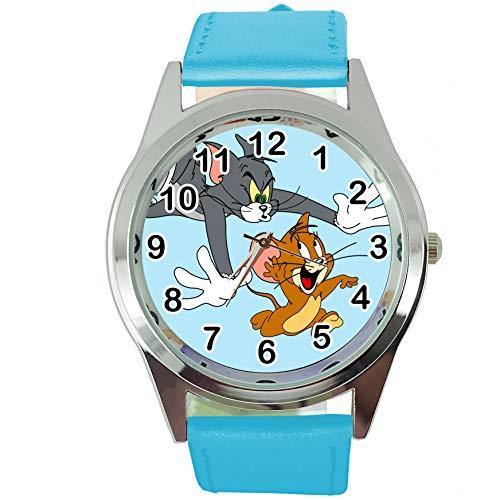 Taport® Tom und Jerry Quarz-Armbanduhr, rund, SCI FI, echtes Lederband, inklusive Ersatzakku und Geschenkbeutel, Blau