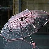 Paraguas transparentes para proteger contra el viento y la lluvia Sakura 3 pliegues de campo de visión transparente para el hogar, rosa (Rosa) - 9953604066563