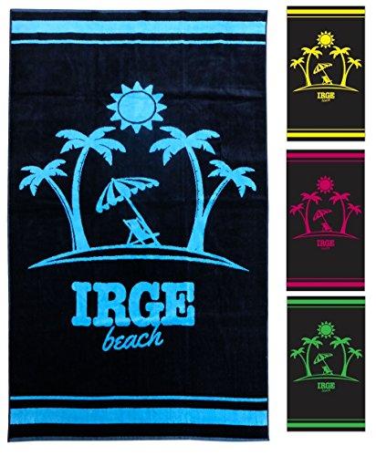 Irge Beach Toalla Playa Toalla de Playa de Suave Rizo 100% Algodón Diseño Palmeras Playa Piscina 90x 170cm