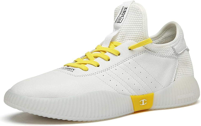 Men's shoes Summer White shoes Men's Leather Casual shoes Breathable Wear 6cm shoes