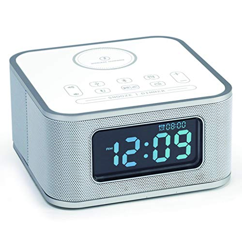 Alarm Clocks Reloj Despertador con Altavoz Bluetooth de Carga inalámbrica para teléfono móvil Homtime Apple iPhone Android Huawei