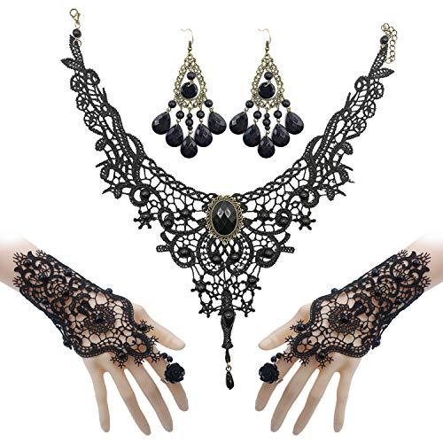 Merclix 3 Stück Gothic Schmuck Vampir Kostüm Damen, Choker Ohrringe Armband Set, Hochzeit Fasching Halloween Steampunk Schmuck Accessoires Damen (Gothic 2)