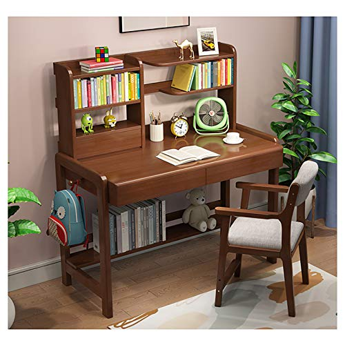 Adjustable Height Kids Study Desk and Chair Set with Book Shelf, Ergonomic Multi Function Wooden Computer and Writing Workstation Children's Bedroom Furniture,C