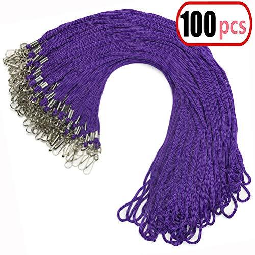 100Violett Schlüsselband Bulk Clip Swivel Haken 52cm Baumwolle Hals gewebtes Abzeichen Lanyards mit Clips Violett Lanyards für ID Abzeichen (lila)