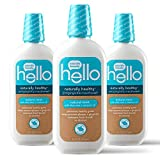 7. hello Oral Care Naturally Healthy Antigingivitis Fluoride Free and SLS Free Mouthwash with Aloe Vera and Coconut Oil, Blue, 16 Fl Oz (Pack of 3)