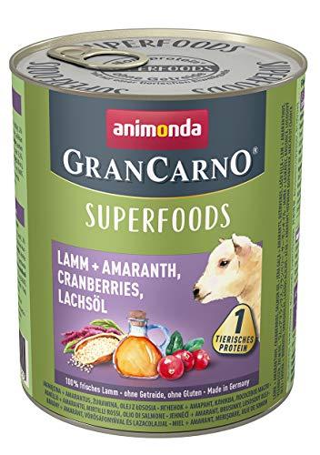 animonda Gran Carno adult Superfoods Hundefutter, Nassfutter für ausgewachsene Hunde, Lamm + Amaranth, Cranberries, Lachsöl, 6 x 800 g, 6er Pack (6 x 0.8 kilograms)