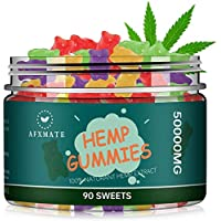 90-Count AFXMATE 100% Natural Hemp Oil Infused Gummies for Pain & Stress Relief