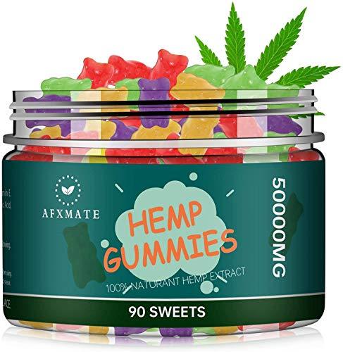Hemp Gummies for Pain & Stress Relief - 100% Natural Hemp Oil Infused Gummies for Pain, Anxiety, Stress & Inflammation Relief, Promotes Sleep & Calm Mood(50000MG | 90 Gummies)