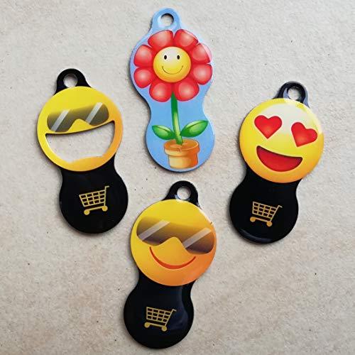 Zami-Design 4er Set abziehbarer Einkaufswagenchip aus Metall - Schlüsselanhänger - Typ: Sunny - Sunny Neu - Flora - Heart