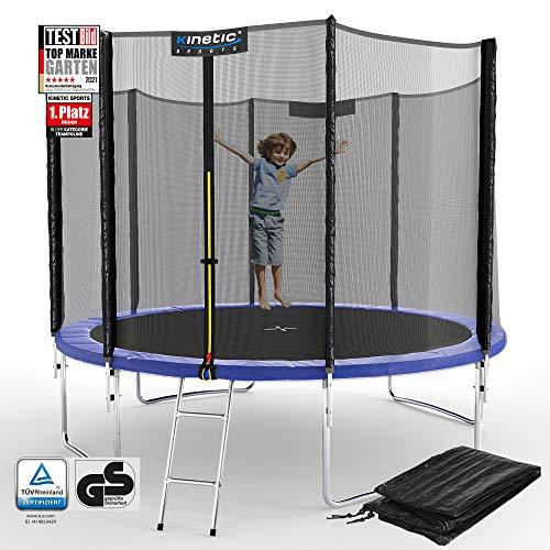 Kinetic Sports Outdoor Gartentrampolin Ø 305 cm, TPLS10, inklusive Sprungtuch aus USA PP-Mesh +Sicherheitsnetz +Rand- u. Regen-Abdeckung +Leiter, bis 160kg, GS-geprüft,UV-beständig, BLAU