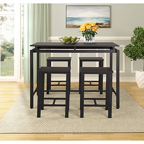 G-house 5 Piece Dining Table Set, Kitchen Table with 4 Chairs for Kitchen, Breakfast Nook, Dining Room, Living Room (Espresso)