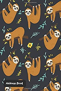 Address Book: With Alphabetical Index Cute sloth cover