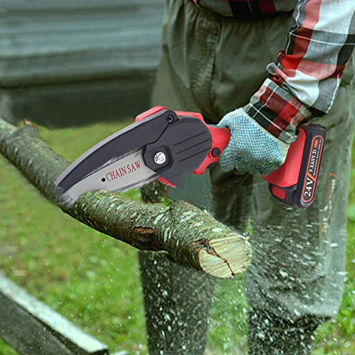 Snowtaros 4-Inch Mini Chainsaw, 24V Cordless Electric Portable Chainsaw, Pruning Shears Chainsaw for Tree Branch Wood Cutting (Charger + 1 Battery)