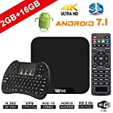 TV Box Android 7.1 - VIDEN W2 Smart TV Box Amlogic Quad Core, 2GB RAM & 16GB ROM, 4K*2K UHD H.265, HDMI, USB*2, 2.4GHz WiFi, Web TV Box, Android Set-Top Box, + 2 en 1 Ratón y Teclado