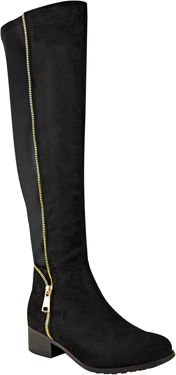 Fashion Thirsty Womens Knee High Boots Stretch Faux gold Zip Low Heel shoes Size