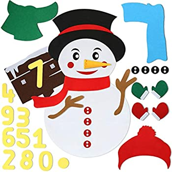 king do way DIY Felt Christmas Snowman kit 40PCS Detachable Ornaments with 3 Style Modes Snowman Games Set for Toddlers Kids Christmas Home Door Wall Hanging Decorations