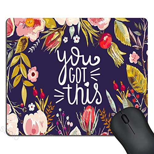 SSOIU You Got This Quote Cute Round Mouse Pad, Vintage Colored Floral Wreath Motivational Inspirational Quotes Navy Blue Funny Circular Mouse Pads