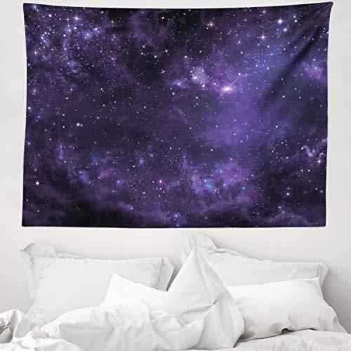 ABAKUHAUS Galassia Tappeto da Parete e Copriletto, Starway View, Colori Che Non sbiadisce, 150 x 110 cm, Nero Navy Blue