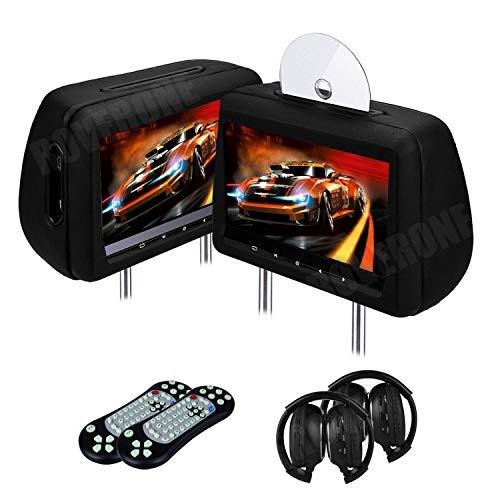 2 X 10,1 Pollici Auto Seggiolino Lettori DVD Poggiatesta Touch Button Monitor 1080P con Porta HDMI Supporta le Cuffie da USB SD AUX IR FM