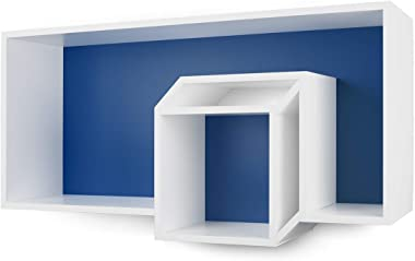 TemaHome Cubic Étagère de Mur, Bois tamburato, Bleu foncé et Blanc, 100x 26x 50cm (L x l x h)