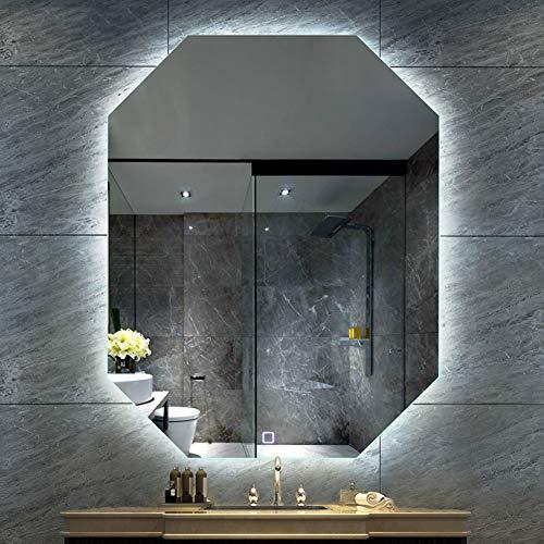 Espejo de baño iluminado con luz LED para medir – Espejo de iluminación cálida – Bluetooth Smart HD sin marco – Espejo de baño sin distorsión – Indicador de temperatura multifunción