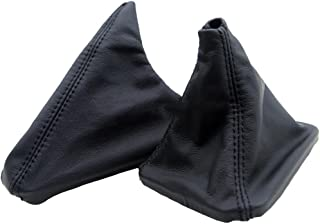DSV Fits 1992-1999 BMW E36 Real Black Leather Shift Boot & E Brake Boot Set (Leather Part Only)