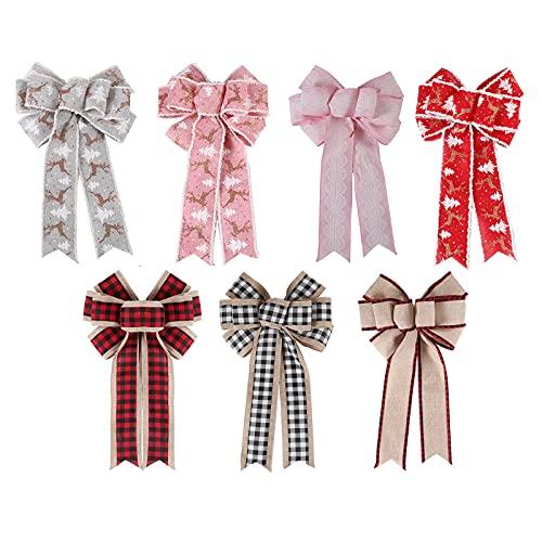 TIAVNTD 7 adornos grandes de Navidad, coronas de Navidad, arcos para decoración de árbol de Navidad, regalos de árbol de Navidad, decoración de la casa