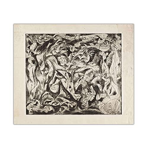 CCZWVH Jackson Pollock  The Museum Outlet  Lienzo Pintura Famosa Obras de Arte Cartel Imagen Decoración de Pared Decoración de la Sala de Estar 20x24 Pulgadas Sin Marco