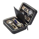 JIAJBG Caja de almacenamiento de reloj para hombre, caja de reloj con cremallera, 4 ranuras para almacenamiento y visualización de reloj exquisito/negro / 18 x 14 x 6 cm