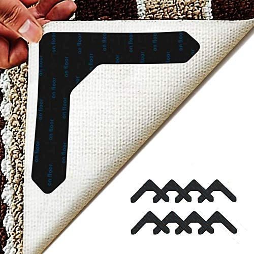 """Homedy 8 Pieces Rug Grippers for Area Rugs, Non Slip Rug Gripper on Carpet for Hardwood Floors, Updated""""L"""" Shape Rug Corner Gripper"""
