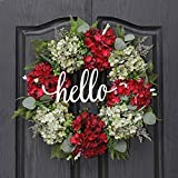 QUNWREATH 18 Inch Wreath for Front Door, Green Red Hydrangea Wreath, Hello Wreath, Christmas Wreath, Farmhouse Wreath, Home Christmas Decoration