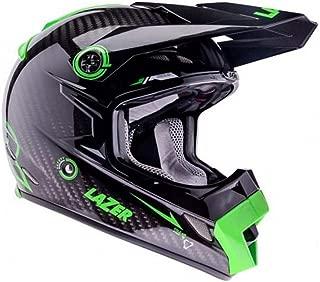 Lazer Helmets MX8 Pure Carbon Motocross Helmet (Black Carbon and Green, S)
