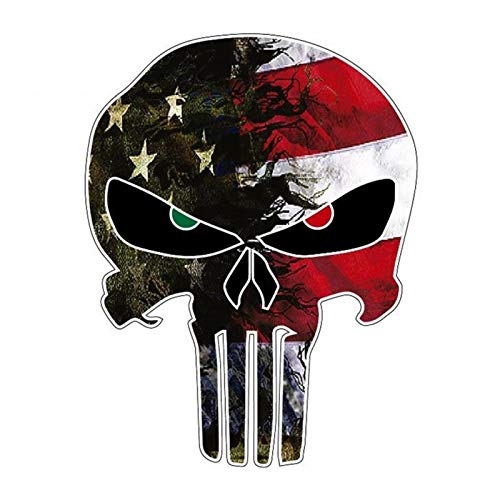 TARTIERY Auto Vinyl Aufkleber Selbstklebende Aufkleber Das Punisher Schädel Emblem Dekoration Zubehör, 2PCS 10,8 14cm Kreative USA Flagge Für Camo Klein Für Reflektierende Buchstaben