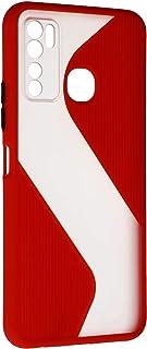جراب خلفى قوى رفيع بتصميم مموج مع واقى للكاميرا لانفنيكس نوت 7 لايت - احمر شفاف