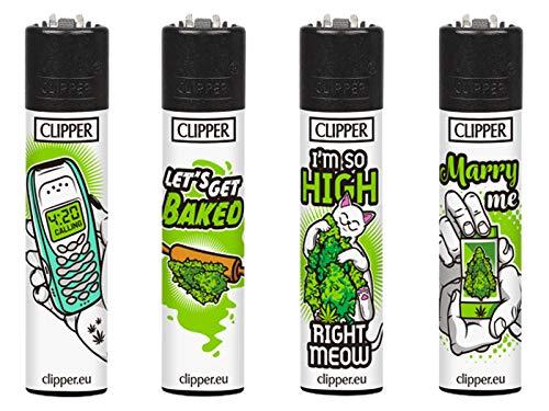 Clipper Weed Slogan #3 Original Lighter Flints 4 Set Feuerzeug Schlüsselanhänger Flaschenöffner