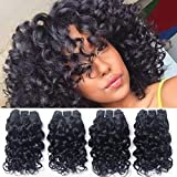 Brazilian Curly Human Hair Weave 4 Bundles Wet And Wavy Remy Hair Extensions Real Raw 100% Unprocessed Virgin Hair 8A Grade Loose Italian Curl Natural Black Color 8 Inch 50g/Pc