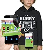 PIXEL EVOLUTION Sweat à Capuche 3D Rugby Biarritz en Réalité Augmentée Enfant - Taille 12 Ans - Noir