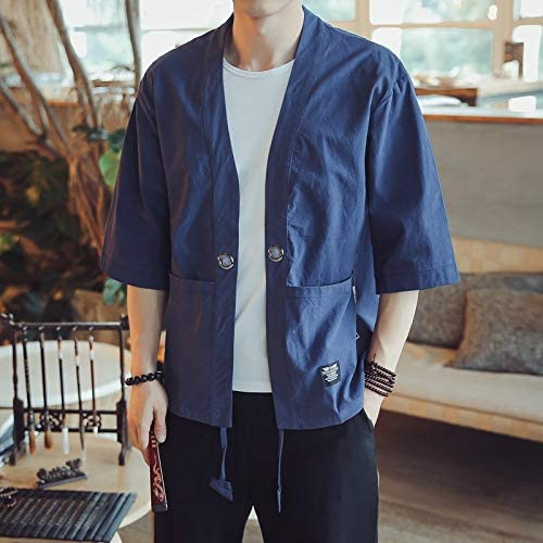 675 Men Men Cardigan Tops Three-Quarter Sleeve Chinese Style Jacket, Size:L(Red) Fashion (Color : Dark Blue)